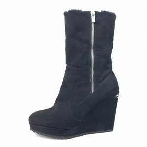 Juicy couture black wedge ankle boots women's 9.5